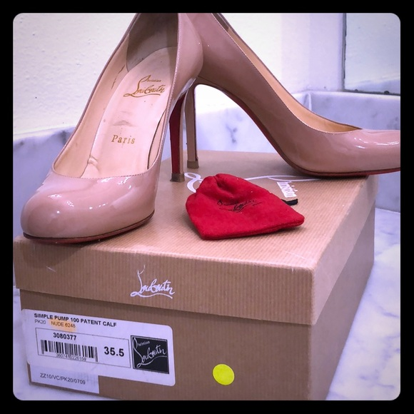 newest ad8c3 52b28 Christian Louboutin Simple Pump 100 Patent Nude